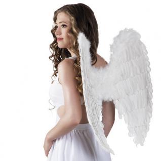 Flügel mit echten Federn 65 x 65 cm weiß Engelsflügel