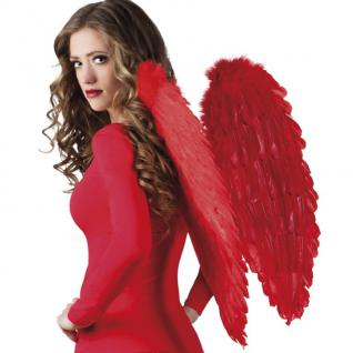 Flügel mit echten Federn 65 x 65 cm rot Engelsflügel