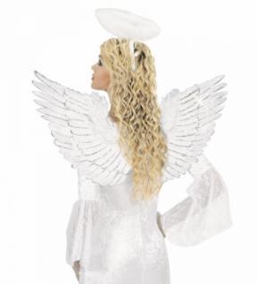Federflügel weiß mit Silber Glitter 86x42cm Flügel Engelsflügel Engel Kostüm