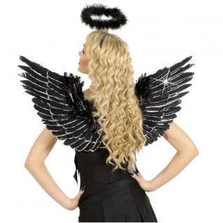 FEDER FLÜGEL 86 x42 cm schwarz mit Glitzer Halloween Kostüm Teufel Engel