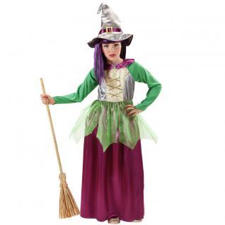Hexe Bella Mädchen Kostüm Kleid mit Hut Gr. 128 140 158