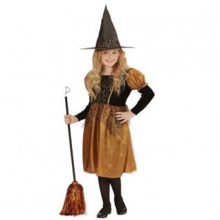 Edles Kinder Kostüm Hexe gold/schwarz für Mädchen