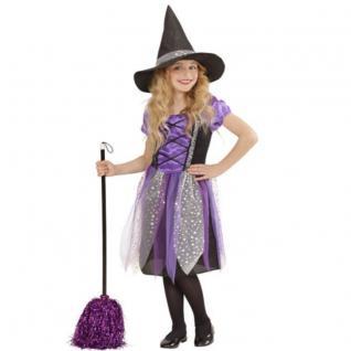 Mädchen Kostüm Hexe Xara Kleid mit Hut lila edles Halloween 128 140 158