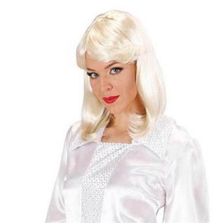 Popstar Perücke Agnetha platinblond schulterlang 70er 80er