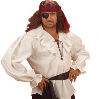 Piratenhemd weiß Pirat ML 50/52 Herren Hemd Rüschenhemd Mittelalter Shirt