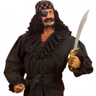 Piratenhemd schwarz Pirat ML 50/52 Herren Hemd Rüschenhemd Mittelalter Shirt