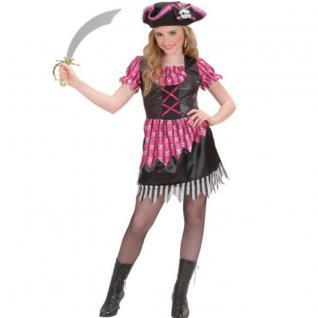 Schickes Piratin Kinder Kostüm pink Gr. 140 für 8-10 J. Mädchen Pirat Kostüm