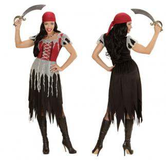 Piratin Kostüm Gr. L 42 44 Damen Kleid Seeräuber Freibeuter Lumpen Pirat