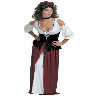 KOSTÜM WIRTIN XL 46/48 Mittelalter Magd Freifrau Karneval Damen Kleid