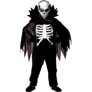 SCARY SKELETON Gr. 140 Kinder Kostüm Gruseliges Skelett Halloween Tod