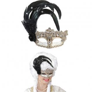 VENEZIANISCHE AUGENMASKE mit Federn und Strass Maske Karneval Fasching