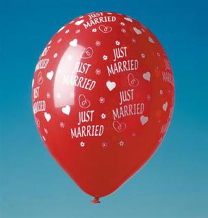 5 Luftballons, JUST MARRIED, Rot, Hochzeit Party, Deko, Verlobung
