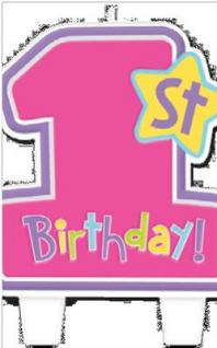 1. Geburtstag, Mädchen Rosa, Deko,Feier Kindergeburtstag,Kuchenkerze