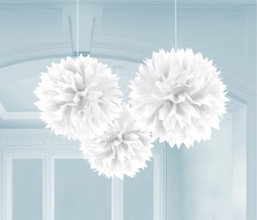 3er Set Pompom - Papierblumen weiß Party Deko Geburtstag