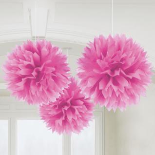 3er Set Pompom - Papierblumen pink