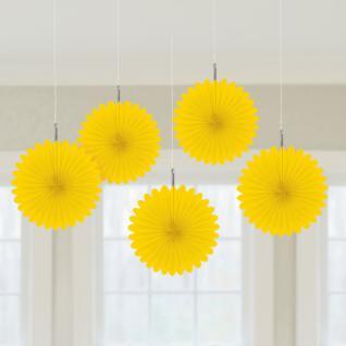 5er Set Minifächer Gelb