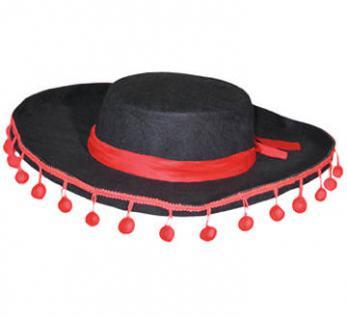 Hut Spanier schwarz mit roten Troddeln PREISHIT - Spanierhut,