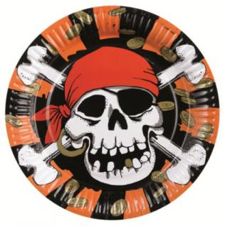 8 Teller, Pirat Jolly Roger, Kindergeburtstag, Piratenparty, Motto-Party,