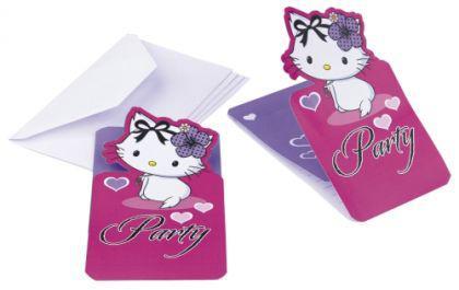 CHARMMY HELLO KITTY Hearts Kindergeburtstag 6 Einladungskarten Motto Party