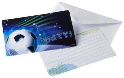 6 Einladungskarten, Fussball Deko, Party Motto, Geburtstag, Kindergeburtstag, Feier
