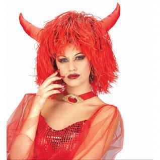 Rote Teufelin mit Hörner Damen Perücke Karneval Halloween