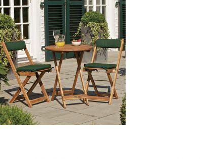 """Akazienholzbalkon-Set """"Kreta"""", 2 Stühle mit Kissen + Tisch"""