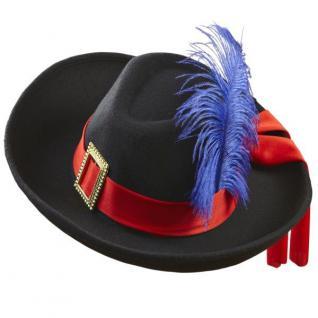 Musketier Hut aus Samtoptik - schwarz mit Feder - Musketierhut für Erwachsene