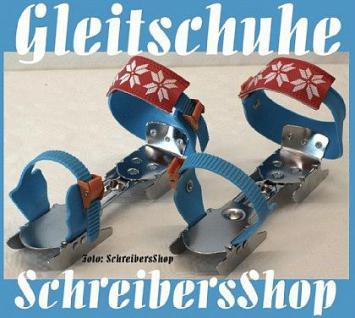 Kinder Gleitschuhe Schlittschuhe verstellbar blau