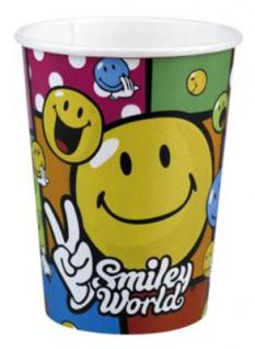 8 Becher SMILEY COMIC - Kinder Party, Kindergeburtstag, Deko