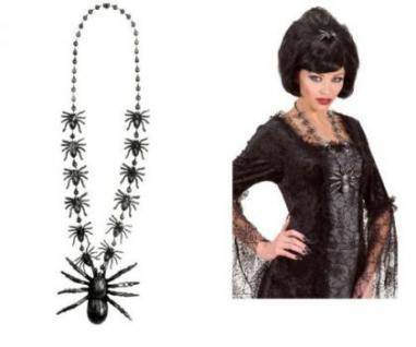 Silberfarbene Halskette Spinne Halloween Kette Grusel Spinnen schwarz