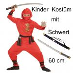 Ninja Kinder Kostüm - RedDragon+ 60 cm Schwert Gr.128-158