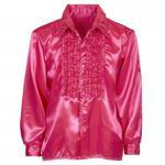 Satin Rüschenhemd Herren pink Hippie Kostüm 70er 80er Jahre Gr. M/ L, XL, XXL