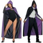 Exklusiver Wende Umhang mit Kapuze lila/schwarz Kostüm Venedig Vampir