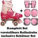 Größen verstellbare KINDER ROLLSCHUHE+ PROTEKTOREN 27-28-29-30 GIRLS Skates FRW