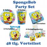 48 teiliges Party Set SPONGE BOB Kindergeburtstag, Teller Servietten Becher