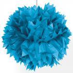 POMPON einzeln Papier-Blume Ø 30 cm azur blau