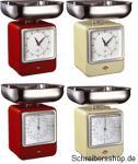 Retro Küchenwaage mit Uhr von WESCO rot, mandel