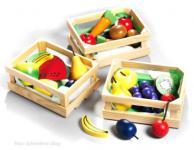 Kinder Kaufladen Holzkorb m Gemüse u Obst Zubehör