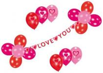 Partykette I LOVE YOU Liebe Herz Girlande Deko Verlobung Ballons