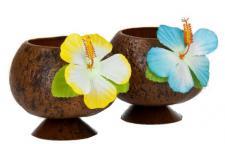2x HAWAIIBECHER halb Hawaii Becher Kokosnuss Cocktail Party