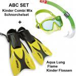 Kinder Combi Tauch Set LIMONE Gr.33-36 Flossen Flame Junior + Schnorchel Set COMBI MIX