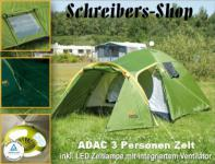 ADAC 3-Personen Zelt Kuppelzelt incl.Zeltlampe