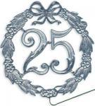 Jubiläumszahl 25 silber Durchm. 13cm mit Draht