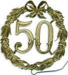 Jubiläumszahl 50 gold Durchm. 13cm mit Draht