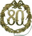 Jubiläum 80 festliche Zahl mit Draht in Gold