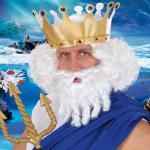 Neptun Perücke mit Bart Locken weiß