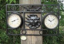 Wanduhr / Thermometer 35 x 47 x 55 cm schwarz Metall