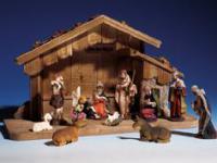 Weihnachtskrippe Krippenstall Holz 53x20x31cm