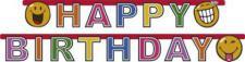 Girlande Happy Birthday - SMILEY COMIC - Kinder Party, Kindergeburtstag, Deko