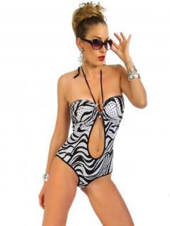 Badeanzug bauchfrei schwarz weiß